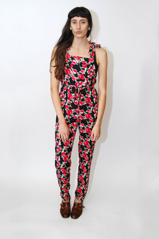 9621695c4629 FLORAL JUMPSUIT M vintage 90s rose print floral pantsuit