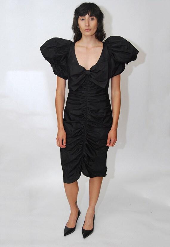80s Prom Dress (S) vintage black ruffle pleat puf… - image 2