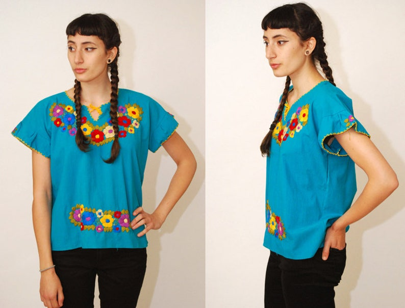 8747797525ccb Vintage MEXICAN TOP blue 70s ethnic peasant folk tunic shirt