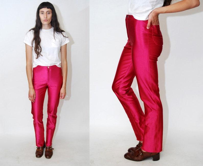 50d38a1cea1c59 DISCO PANTS XS vintage 70s pink fuchsia spandex slim fit   Etsy