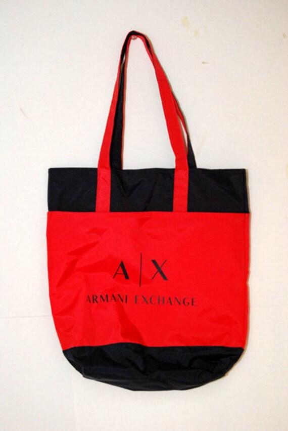 ARMANI EXCHANGE TOTE vintage 90s hand bag giorgio shopper navy   Etsy 9e5815efc6