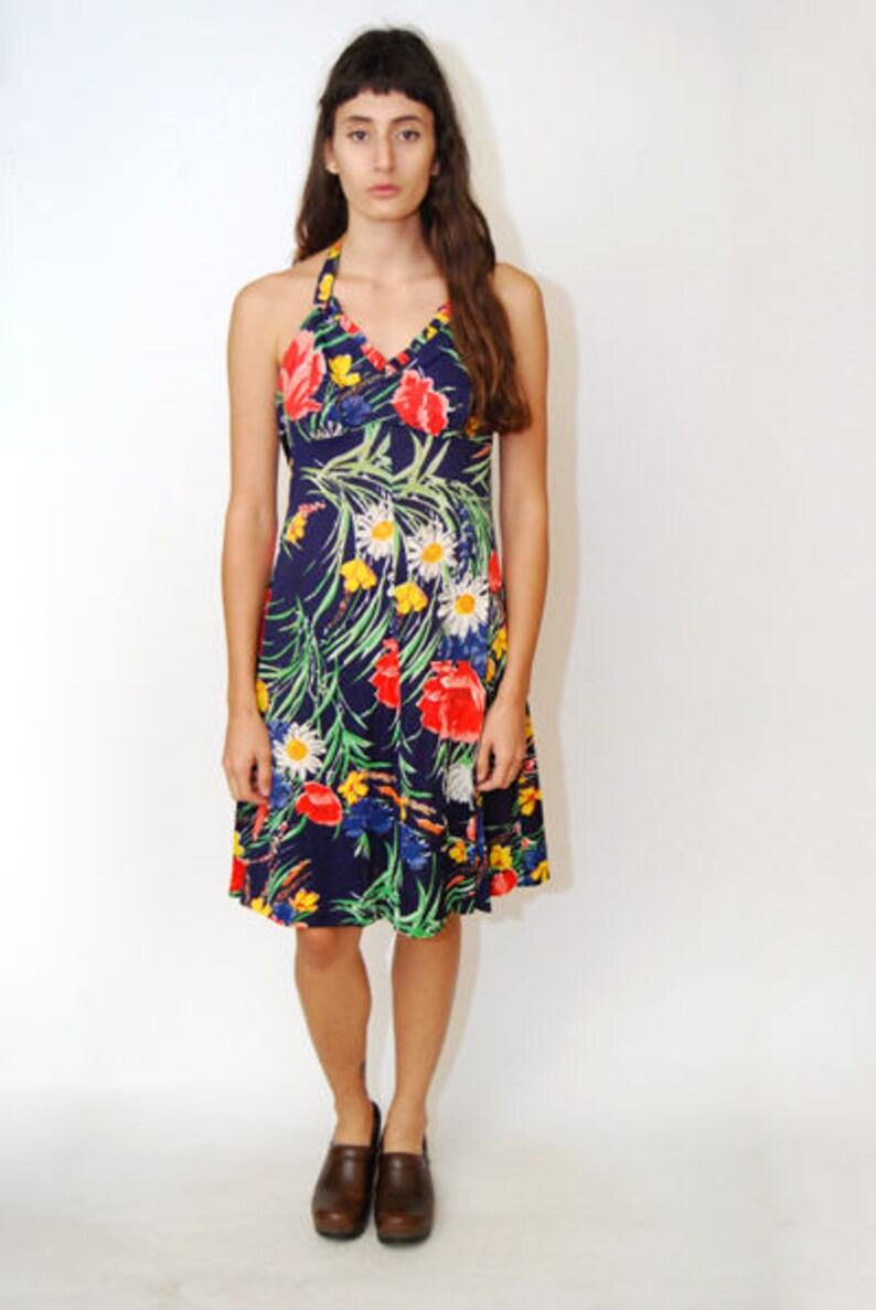 4a20db6bb56e Vintage HALTER DRESS S floral print 70s 60s mini hawaiian