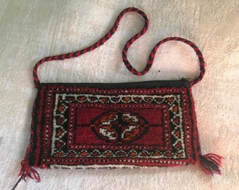 Free Shipping Blue Kilim Patterned Coin Purse Clutch Oriental Moroccan Vintage
