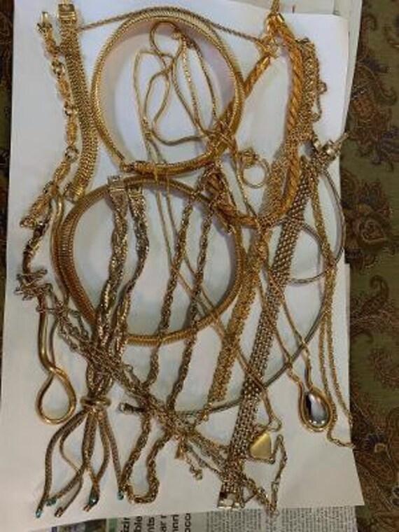 GOLDTONE CHAINS LOT Large Quantity Vintage Gold To