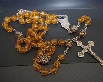 Jewelry & Watches Collectibles Vintage Sterling Clear Faceted Glass Beads Rosary Necklace 50% OFF