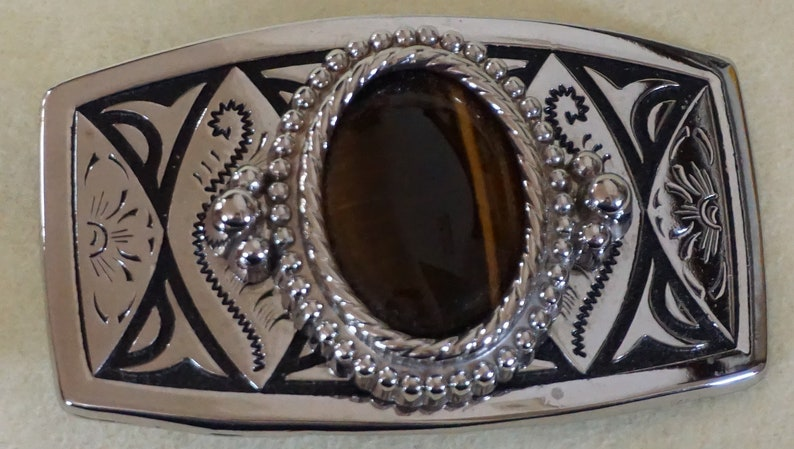 Western Silver Plated Cowboy Belt Buckle With Tiger Eye Stone