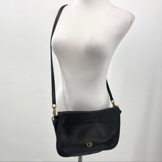 Vintage Coach Leather Crossbody Clutch Bag Black