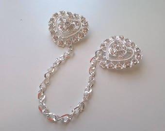 Bridal Wedding Silver Rhinestone Sweater Guard Retro Look Diamante Sweater Chain Vintage Inspired Jewelry