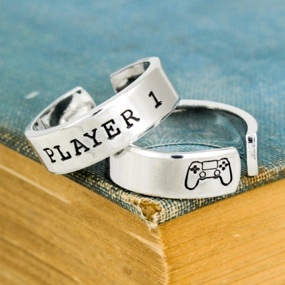 Player 1 Player 2 Ring Set, PS4 Rings, Gamer Couple Rings, Gamer Ring Set, Valentines Day Gift