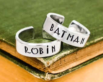 Batman and Robin Ring Set  - Valentines Day Gift