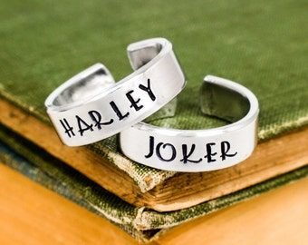 Joker and Harley Ring Set - Valentines Day Gift