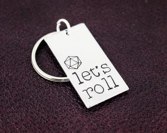 Let's Roll Keychain - d20 - Tabletop Gamer Gift