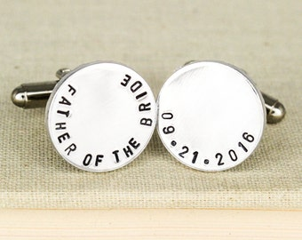 Father of the Bride Cuff Links - Personalized Aluminum Cuff Links
