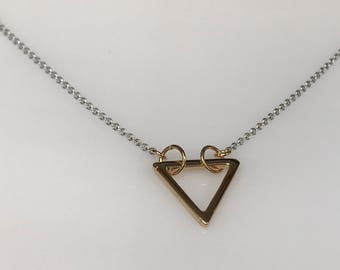 Delicate 18k two tone gold triangle pendant