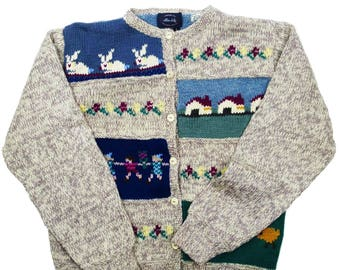 Vintage Cottage Garden Hand Knit Pure Wool Cardigan UK 10-14