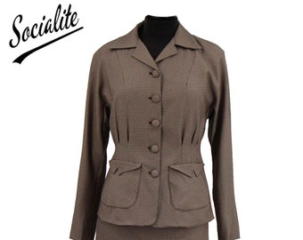 Brown Check Victory Suit - Socialite Replica 1940s Womens Skirt Suit