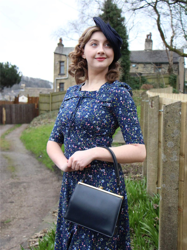 10+ Websites with 1940s Dresses for Sale Blue Floral Tribute Dress - Socialite Replica 1940s Vintage Dress $91.26 AT vintagedancer.com