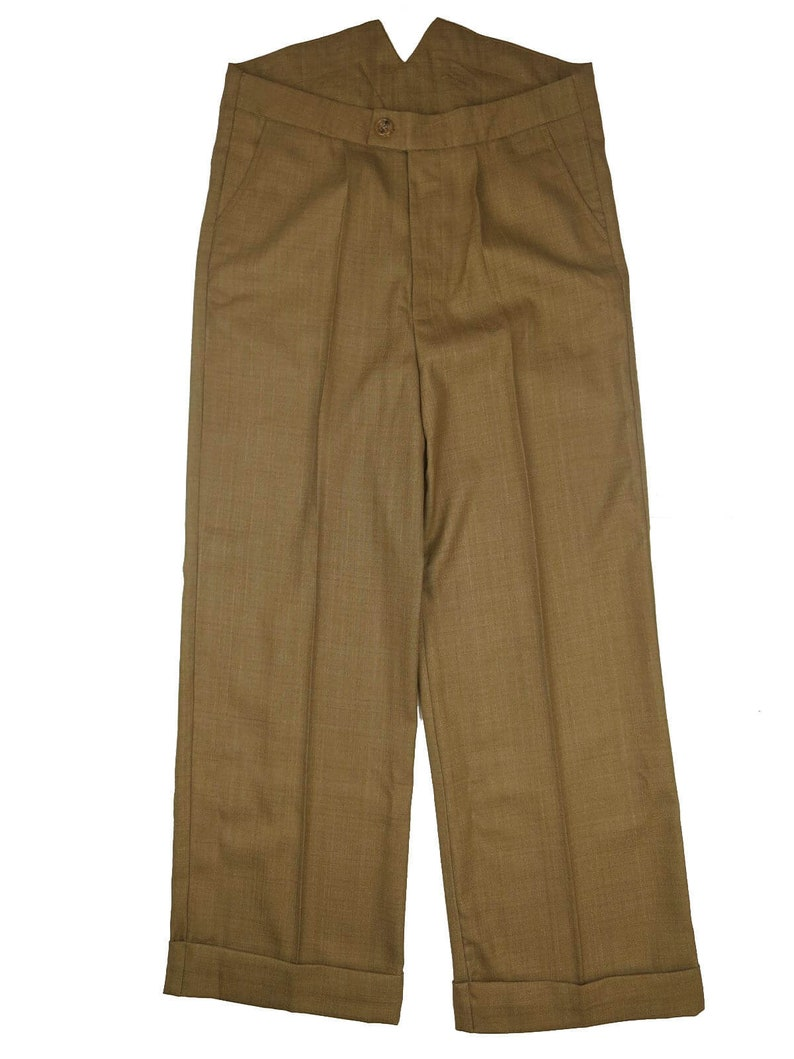 1940s UK and Europe Men's Clothing – WW2, Swing Dance, Goodwin Revival 1940s 100% Wool Light Copper Fishtail Trousers $80.46 AT vintagedancer.com