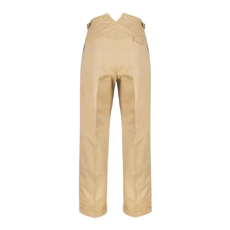 Easy 1940s Men's Fashion Guide Fishtail Back Trousers Revival 1940s Beige Chino Cotton Mens High Waist Pants $97.38 AT vintagedancer.com
