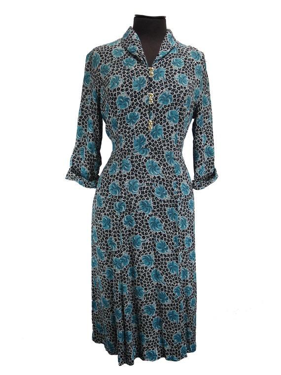 Teal Leaf Print Original 1940s Crepe Dress UK 14-1