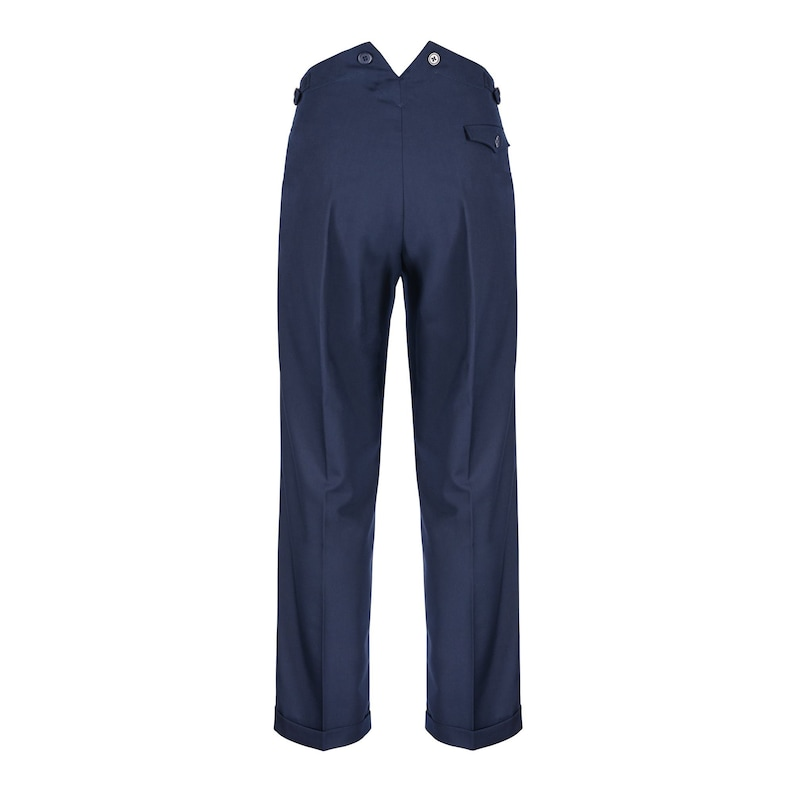 Men's Vintage Pants, Trousers, Jeans, Overalls Mens Fishtail Back Pants Authentic Revival 1940s Navy High Waist Trousers $97.38 AT vintagedancer.com