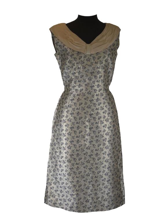 True Vintage 1950s Brocade Evening Dress Back Belt