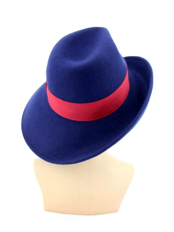 Vintage 1960/'s Blue Satin Geometric Bode Hat French Style Ladies Vintage Blue Retro Hat Mid Century Modern Stylish Navy Pleated Hat