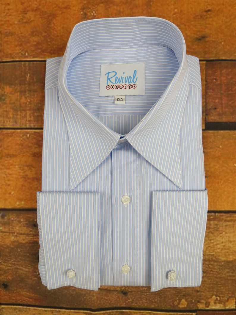 Easy 1940s Men's Fashion Guide Revival Vintage Blue & White All Cotton 1930s 40s Style Spearpoint Collar Shirt $64.44 AT vintagedancer.com