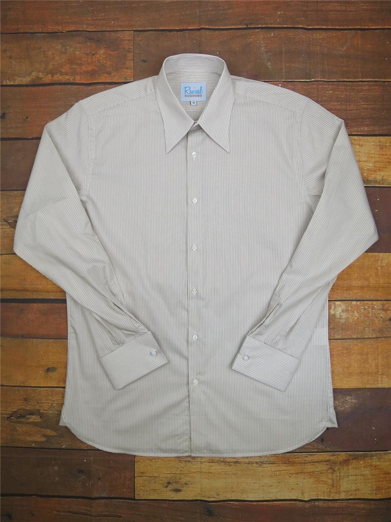 Mens Vintage Shirts – Casual, Dress, T-shirts, Polos Revival Authentic 1940s Style Sand Track Stripe Spearpoint Collar Shirt $81.20 AT vintagedancer.com