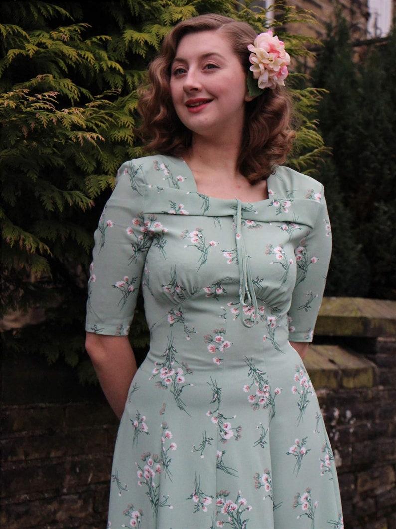 10+ Websites with 1940s Dresses for Sale Green Floral Tribute Dress - Socialite 1940s Vintage Replica $91.26 AT vintagedancer.com