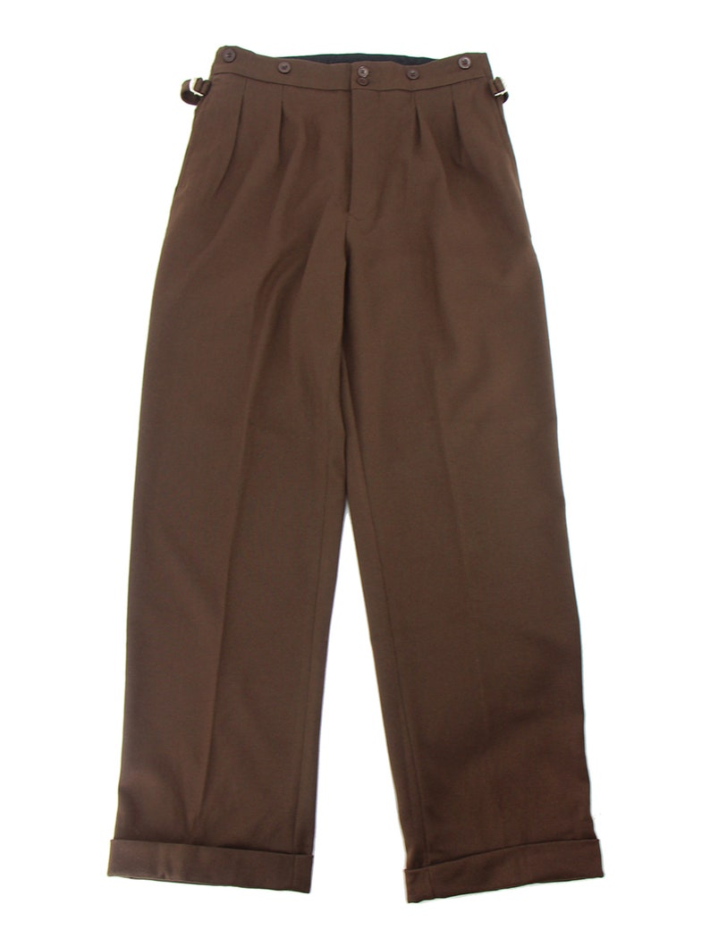 1950s Men's Pants, Trousers, Shorts | Rockabilly Jeans, Greaser Styles Revival 1940s 1950s Vintage Style Authentic Retro Edwin Trousers - Hickory Brown $122.33 AT vintagedancer.com