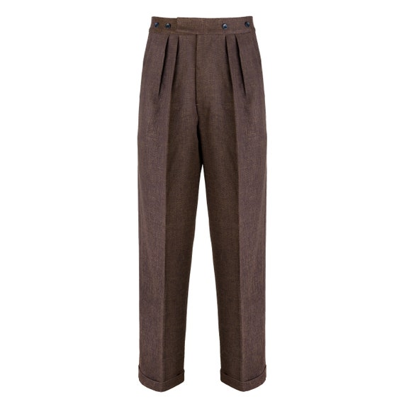 Revival 1940s Crosshatch Brown Notch Back Trousers
