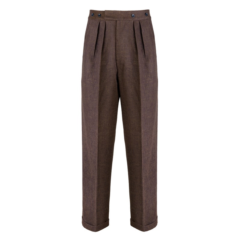 Men's Vintage Pants, Trousers, Jeans, Overalls Revival 1940s Crosshatch Brown Notch Back Trousers $108.64 AT vintagedancer.com