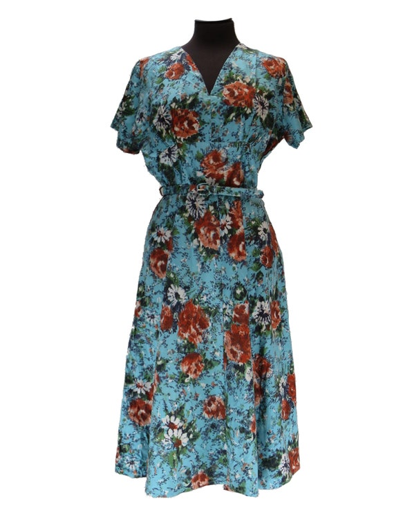 1950s Vintage Turquoise Floral Cotton Day Dress UK