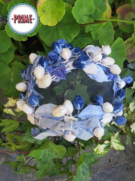 Vintage 1950s Blue & Cream Droplet Half Hat