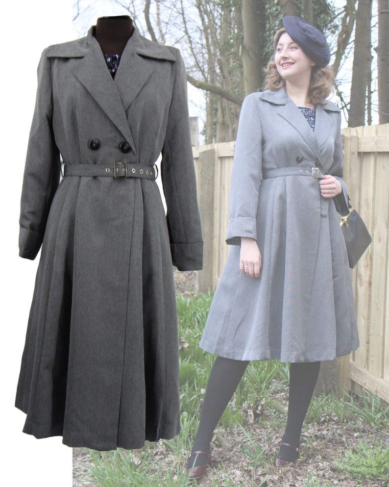 Vintage Coats & Jackets | Retro Coats and Jackets Grey Promenade Coat - Socialite Replica 1940s Coat $144.87 AT vintagedancer.com