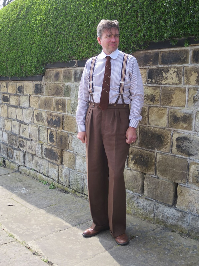 1940s Men's Fashion, Clothing Styles Revival 1940s Coffee Brown Notch Fishtail Trousers $115.94 AT vintagedancer.com