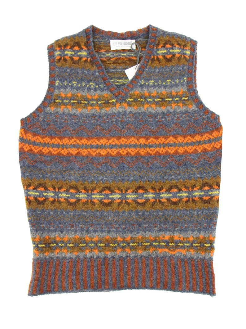 1940s Men's Clothing     Fairisle Shetland Wool Vest Brodie 1940s Style Tank Top - Amber $131.02 AT vintagedancer.com