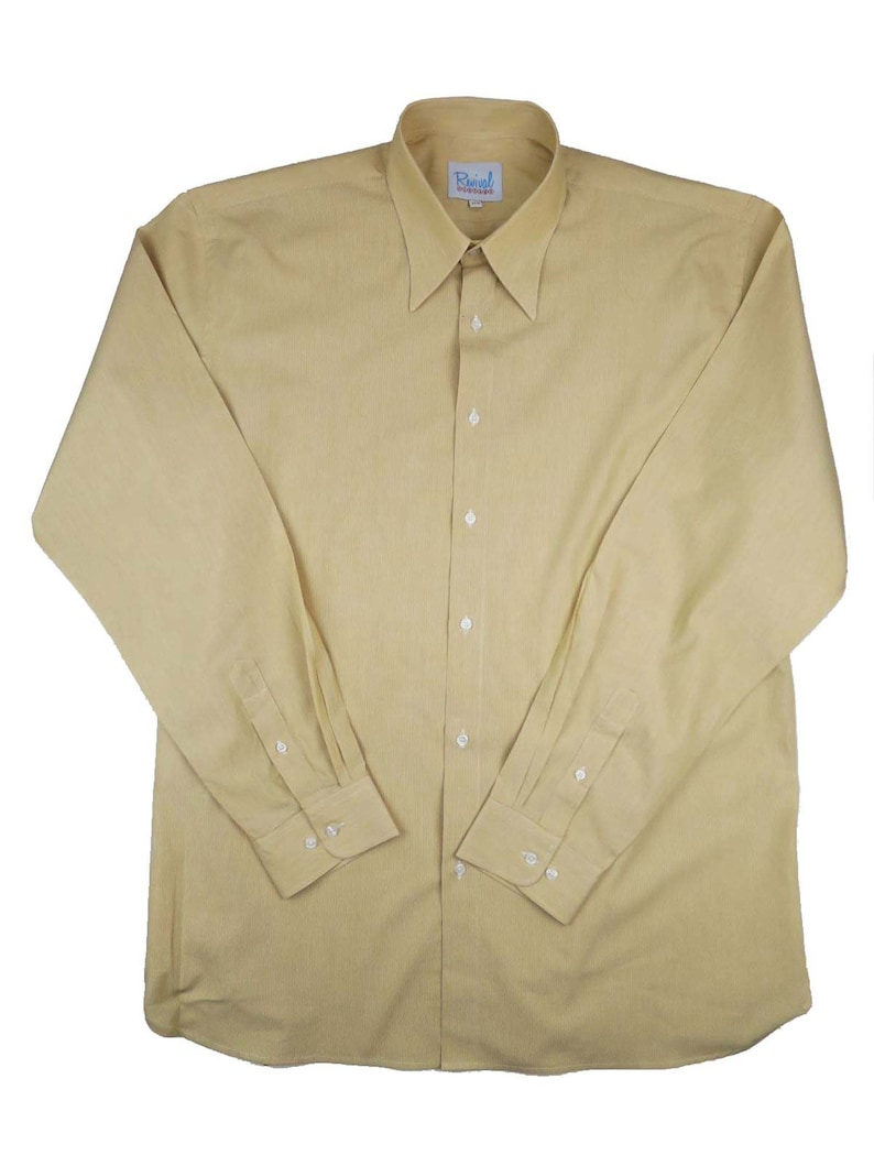 Mens Vintage Shirts – Casual, Dress, T-shirts, Polos Revival 1940s White & Sand Stripe Spearpoint Collar Shirt $68.07 AT vintagedancer.com