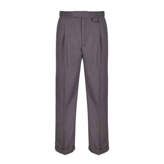 Mens Fishtail Back Trousers Authentic Revival 1940