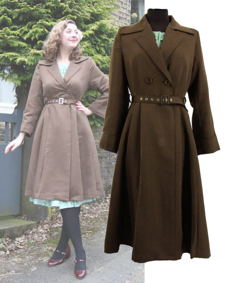 Vintage Coats & Jackets | Retro Coats and Jackets Brown Promenade Coat - Socialite Replica 1940s Coat $144.87 AT vintagedancer.com