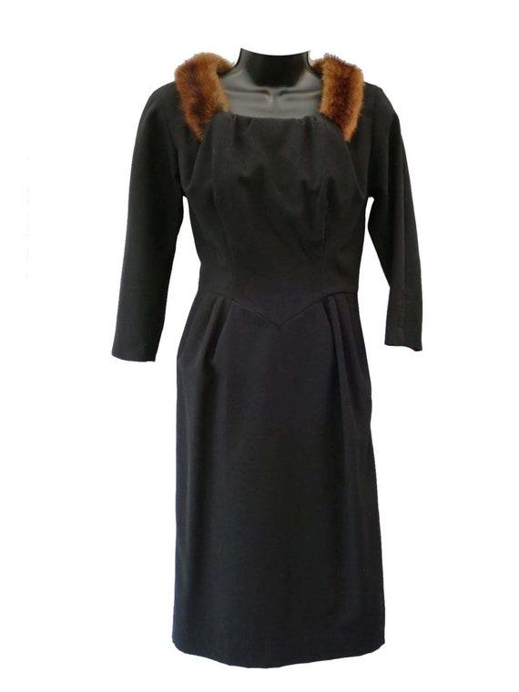 Fur Trimmed Black Original 1960s Vintage Dress UK