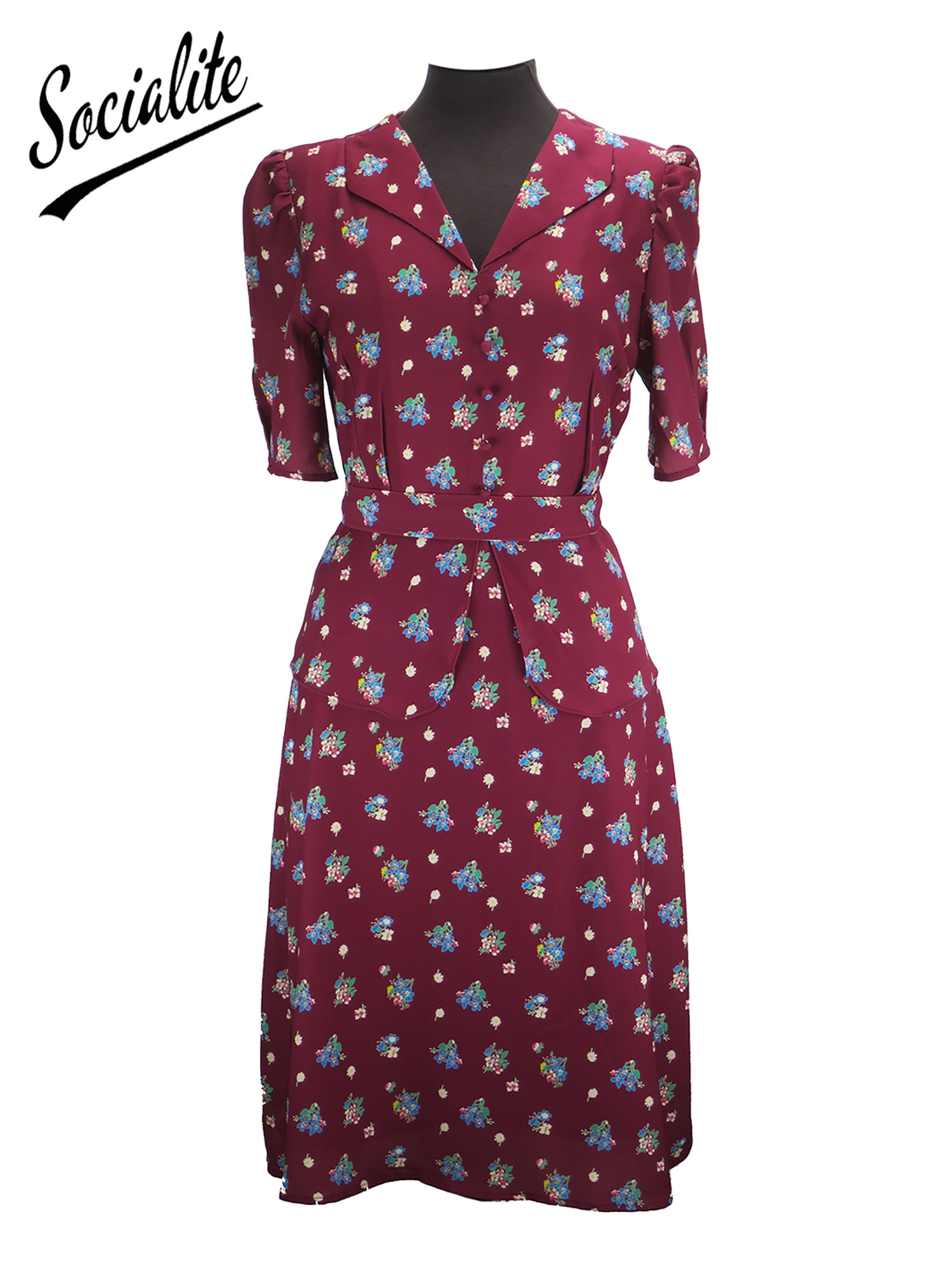 1940s Dresses | 40s Dress, Swing Dress Revival Socialite Replica 1940s Vintage Floral Symphony Peplum Dress $113.99 AT vintagedancer.com