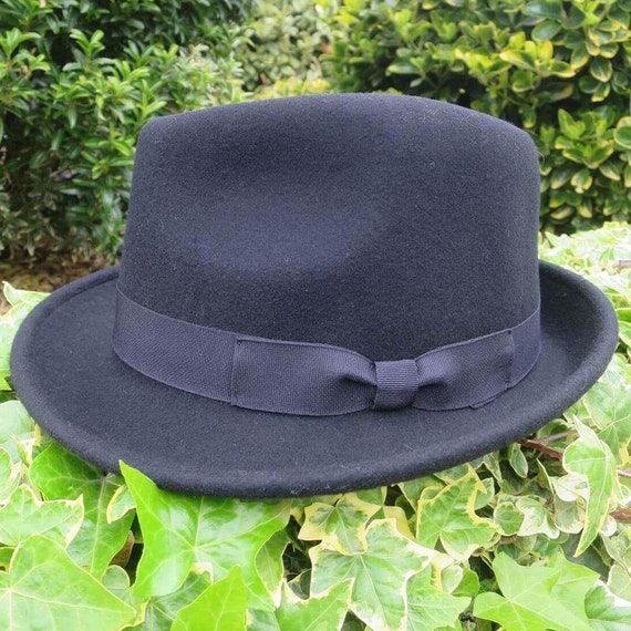 Mens Trilby Hat 1950s Retro Black 100% Wool Vintag