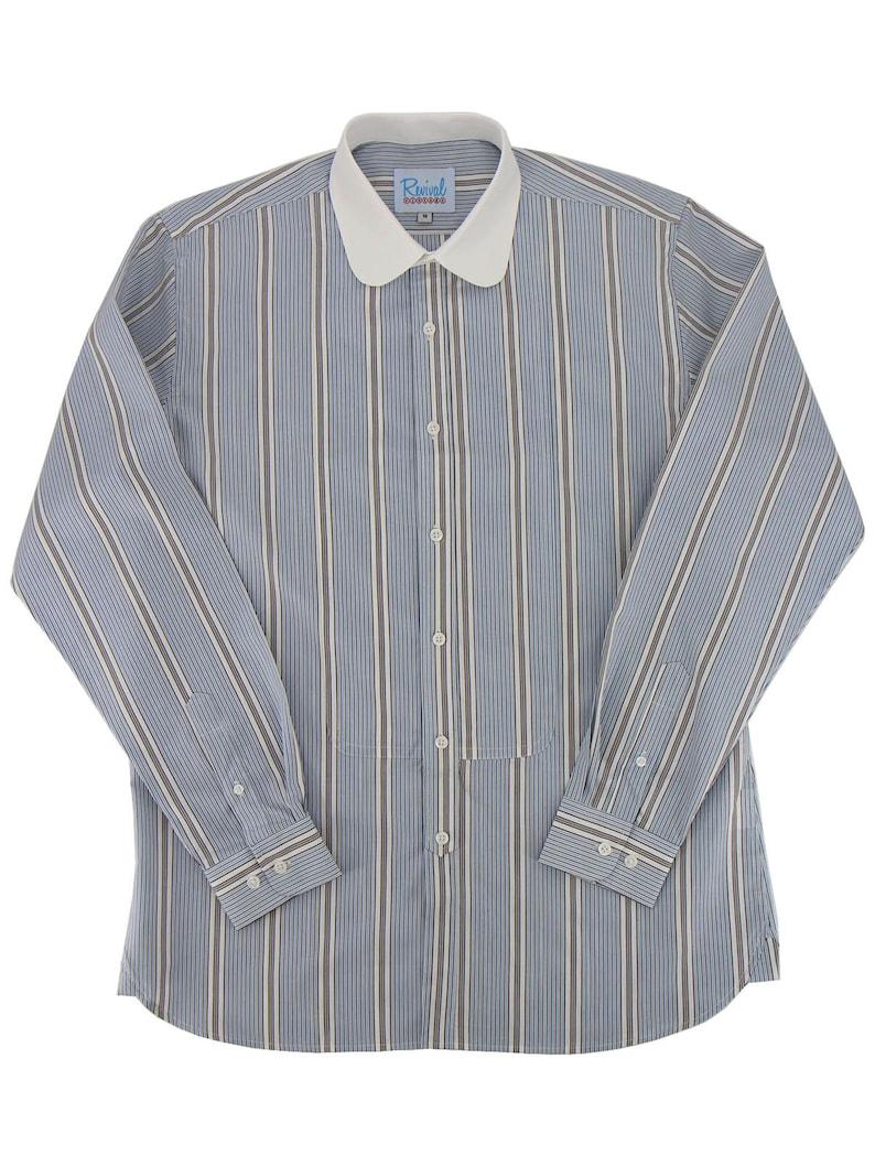 1920s Men's Fashion: What did men wear in the 1920s? Revival Vintage Retro All Cotton 1930s 1940s Blue Bar Stripe Contrast Collar Beaumont Shirt $75.32 AT vintagedancer.com