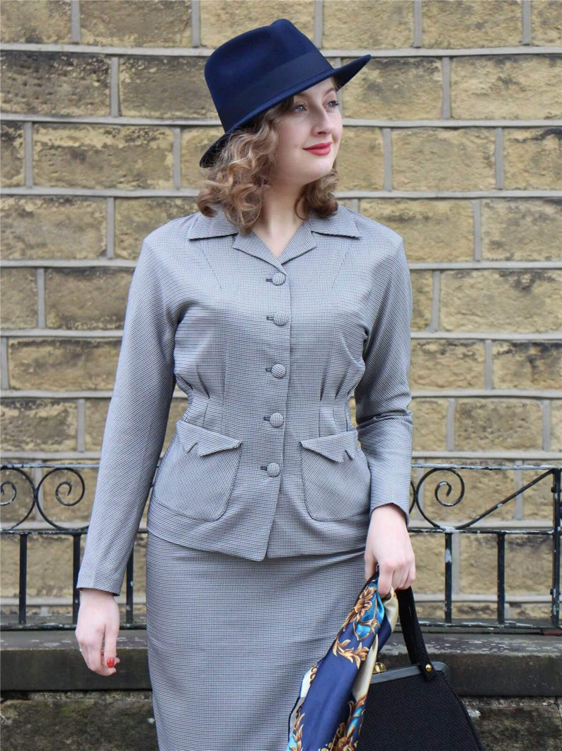 10+ Websites with 1940s Dresses for Sale Grey Check Victory Suit - Socialite Replica 1940s Womens Skirt Suit $144.87 AT vintagedancer.com