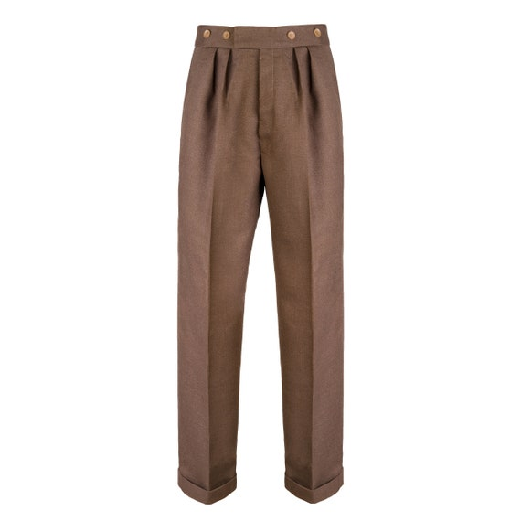 Revival 1940s Coffee Brown Notch Fishtail Trousers