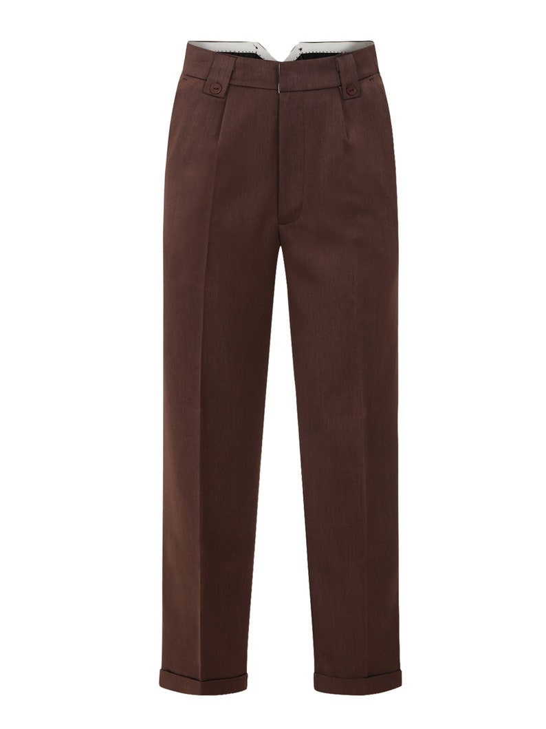 Easy 1940s Men's Fashion Guide 1940s Vintage Style Brown Fishtail LookTrousers With Turn Up Hems $63.50 AT vintagedancer.com