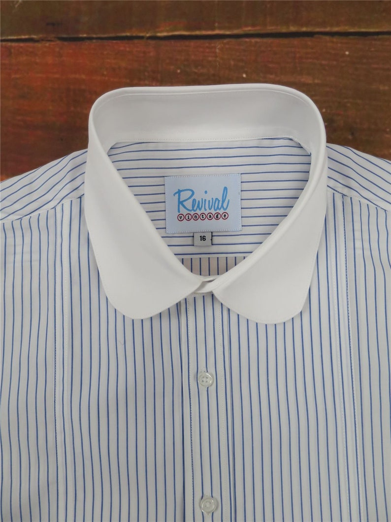 1920s Men's Dress Shirts, Casual Shirts Beaumont 1930s 1940s Style Revival Blue Stripe Shirt With Club Collar $63.02 AT vintagedancer.com