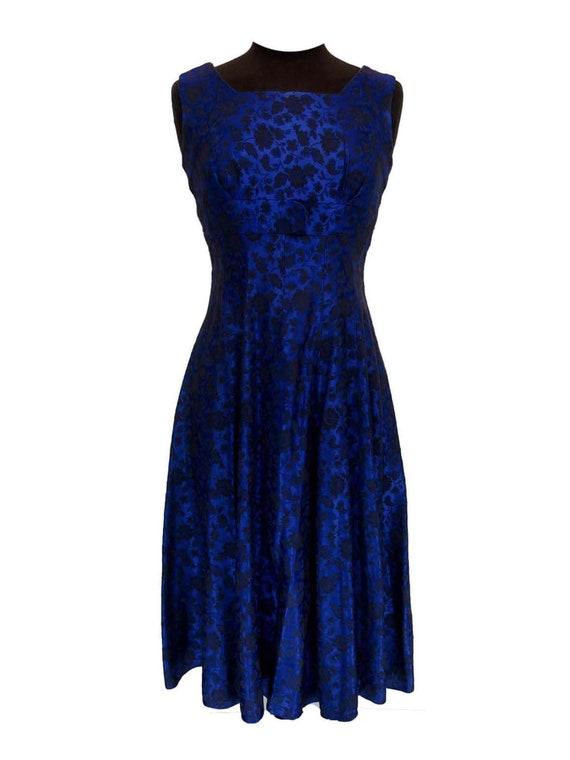 Blue Brocade 1950s Vintage Evening Cocktail Dress